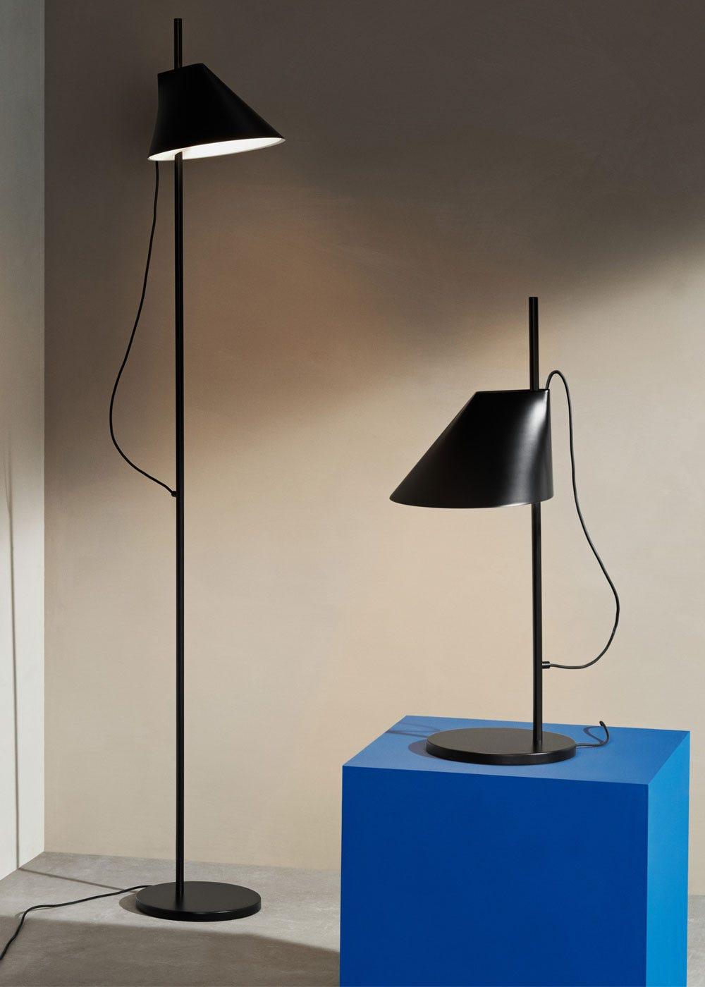 As shown: Yuh table lamp & floor lamp in black