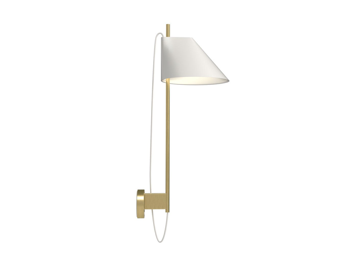 As shown Yuh wall lamp brass stem with white shade.